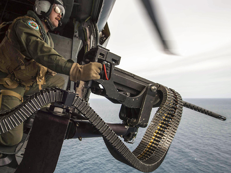 Navy Gunner Shoots .50 Caliber Machine Gun