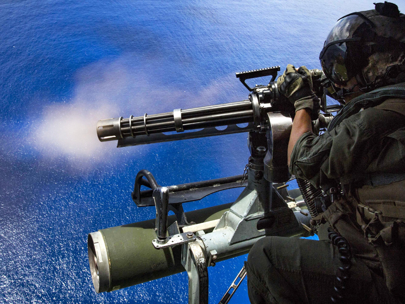 M134 GAU 17A on a Marine Helicopter