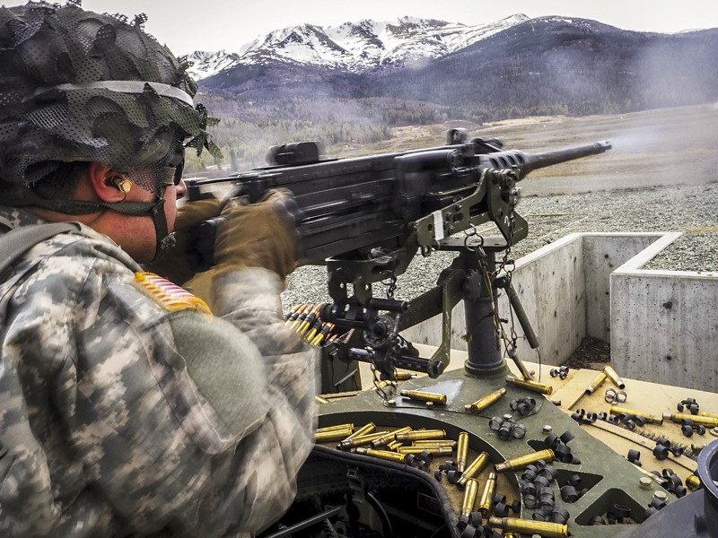 Army soldier fires M2 .50-caliber Machine Gun